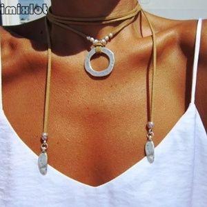 Boho Western Long Choker Necklace Hammered Silver